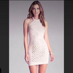 BEBE Details Matter Embellished Halter Dress S